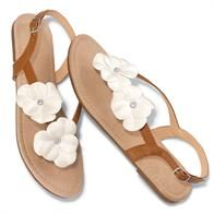 A fresh spring sandal with suedelike insole and two flowers on elastic strap. Features brown buckle straps around the ankle and a clear rhinestone in the center of each flower.  www.youravon.com/gato
