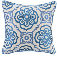 Citadel Mosaic Blue Tile Pillow. Recreated in a classic embroidered mosaic tile pattern, rich with old world charm.