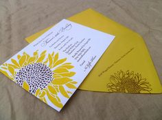 Detail::Sunflower birthday invitation. Letterpress printed in sunny yellow and chocolate brown inks on cotton paper. Wouldn't this make a great fall wedding invitation?