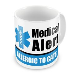 Coffee Mug Medical Alert Blue Allergic to Cats - Neonblond > Find out more details by clicking the image : Cat mug