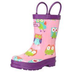 Hatley Little Girls  Children Rubber Boot - Party Owls - Cute Rain Boots for Kids
