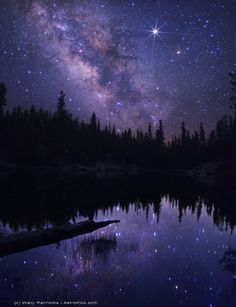 Title - Mammoth Starkweather Lake with Milky Way and Jupiter  Artist: Original Photograph by Wally Pacholka Location: This picture was taken within the Mammoth Lakes area of the Eastern Sierra's in California. Details: The still Starkweather Lake seems to join the night sky as the reflection of the Milky Way and Jupiter are captured in its cool and tranquil waters. Media: Unedited Photograph.