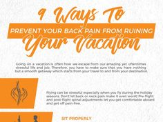 9 Ways to prevent your back pain from ruining your vacation. Back Pain Exercises, Your Back, Chiropractic, Traveling By Yourself, Stress, Vacation, Life, Vacations, Chiropractic Wellness