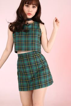 Image of Made To Order - Charli Tartan 2 piece Set in Green