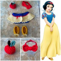 Crochet Disney's Snow White Outfit bow headband by Potterfreakg