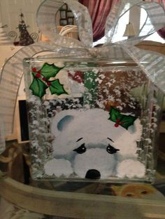 Resultado de imagen para printables for glass blocks Painted Glass Blocks, Decorative Glass Blocks, Lighted Glass Blocks, Christmas Glass Blocks, Christmas Projects, Holiday Crafts, Holiday Ideas, Glass Cube, Glass Boxes