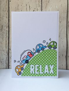 A tongue-in-cheek card for someone's big holiday or adventure using Let's Polka papers, Happy Trails and Cole's ABC's dies. All from Lawn Fawn