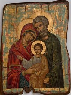 Holy Family Byzantine Art, Byzantine Icons, Religious Icons, Religious Art, Holy Family, Orthodox Icons, Blessed Mother, Sacred Art, Mother Mary