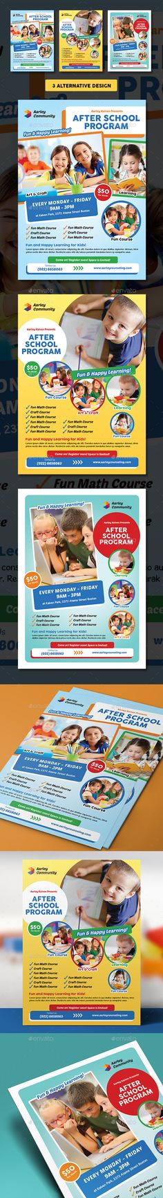 Buy After School Program Flyer by arifpoernomo on GraphicRiver. This After School Program Flyer Template, can be used for promote your Kids Course, School, Play Group, etc. After School Daycare, D School, Presentation Magazine, School Advertising, Birthday Flyer, Kids Market, School Brochure, Flyer Printing, School Opening