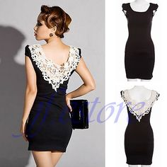 New Crewneck Elegant Ladies White Lace Back Patry Evening Solid Black Dress D368 | eBay