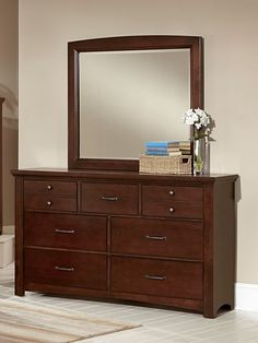 Catalina lV Dresser & Mirror $849.99 Sku:141153 Dimensions:62Wx19Dx76.5H The Catalina is a casual contemporary collection, the dark cherry color gives a relaxing feel, and with a complementing upholstered headboard you'll have the perfect, cozy oasis. The Catalina is very aesthetically appealing, but the beautiful collection is one that will last you for years to come, made of solid oak, and has been lightly distressed to add to the beauty. Please visit our website for warranty and benefits.