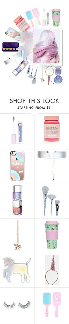 """""""Unicorn hair, Unicorn EVERYWHERE🦄✨"""" by teenstylegoals ❤ liked on Polyvore featuring beauty, Lime Crime, Casetify, Accessorize, Unicorn Lashes, Estella Bartlett and WithChic"""