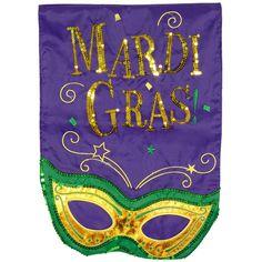 Sparkling Mardi Gras Mask Garden Flag