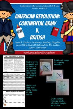 This mini unit compares and contrasts the Continental Army and the British Army during the American Revolution.  This was made to be used in an interactive notebook, but it can it can be used anywhere.  This lesson follows a Launch, Explore, Summary format.