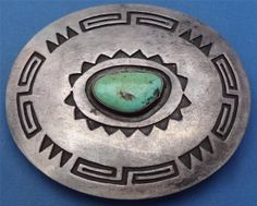 Hopi coin silver and turquoise belt buckle