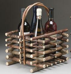 Rustic Wine Carrier por TheBentTreeGallery en Etsy