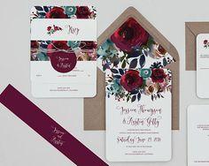 Boho Rustic Burgundy Floral Wedding Invitations,Boho #weddings #invitation @EtsyMktgTool http://etsy.me/2yhi0zs