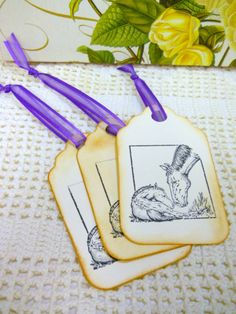 Handmade - Large Mare and Foal Gift Tags - Set of 3 - Hand Stamped - Horse - Country - Cottage Chic @Colleen Cornelius
