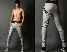 Men's drop crotch harem pants