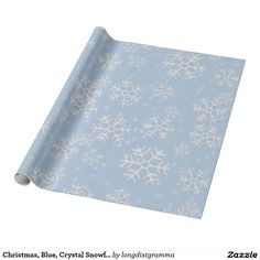Christmas, Blue, Crystal Snowflakes Wrapping Paper