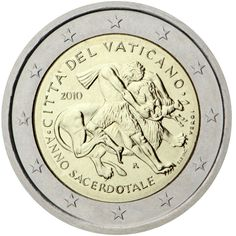 This coin was minted to commemorate the anniversary of the death of Jean Maria Vianey. Vianey was a Catholic priest who devoted his life to the church and after he was canonized became the patron saint of priests. Euro Coins, Valuable Coins, Catholic Priest, Commemorative Coins, The Shepherd, World Coins, Patron Saints, Coin Collecting, Stamp