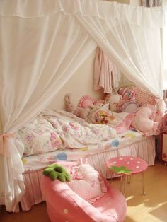 strawberries and canopy Cute Room Ideas, Cute Room Decor, Pastel Room, Pink Room, My New Room, My Room, Room Ideas Bedroom, Bedroom Decor, Kawaii Bedroom