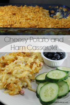{make-ahead} Cheesy Potato and Ham Casserole - Make the night before and then pop in the oven after work! So easy! Beans And Ham) Shredded Potato Casserole, Ham Casserole, Pork Recipes, Cooking Recipes, Potato Recipes, Recipies, Pork Dishes, Side Dishes, Main Dishes