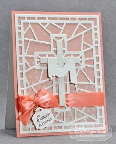 Stained Glass Cross Card by Kim SIngdahlsen #Cardmaking, #Easter, #CuttingPlates, #Faith, #TE, #ShareJoy