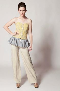 Gayla Rogers Collection 2013 www.gaylarogerscollection.com Yellow/gray bustier & striped trouser