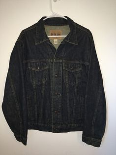 Mens GAP BLUE JEANS Dark Denim Jacket Coat Large L Cotton Button Front #GAP #JeanJacket