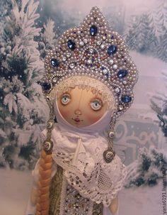 """Купить Кукла в русском костюме """"Ольга"""" - голубой, русский стиль, русский сувенир, русская кукла"""