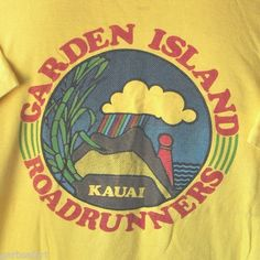"""Garden Island Roadrunners, Kauai"" Vintage Medium T-Shirt Hawaii Marathon Vintage Surfing, Cruise Outfits, Graphic Shirts, Vintage Shirts, Types Of Fashion Styles, Logos, T Shirt, Surf Shirt, Prints"