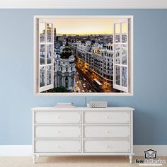 Wall mural Gran Vía in Madrid. Image that simulates a window open to a beautiful view of the famous Gran Vía in Madrid. Madrid, Window Wall, Wall Stickers, Nursing, Dental, Windows, Furniture, Home Decor, Special Effects