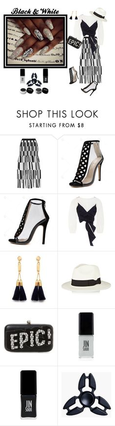 """""""Black & White"""" by quintan ❤ liked on Polyvore featuring Proenza Schouler, Johanna Ortiz, Chloé, Sensi Studio, Steve Madden, JINsoon, Boohoo, FACE Stockholm, nails and Beauty"""