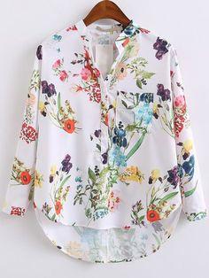 Blusa asimétrica con estampado floral - blanco-Spanish SheIn(Sheinside)