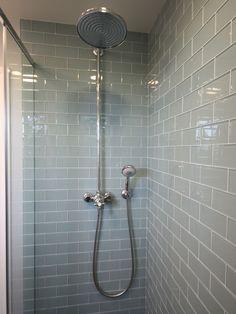 Cool Glazed Glass Subway Tile: Contemporary Bathroom Glass Subway Tile Pale Green Tile White Grout ~ arkoop.com Bathroom Inspiration
