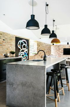 concrete waterfall countertop