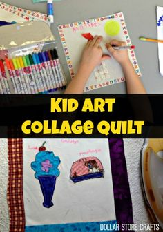 Kid Art Collage Quilt - great for school fundraisers!