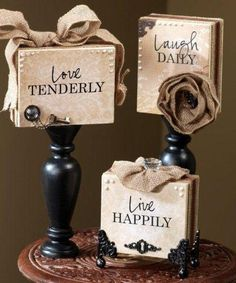 """Supplies Unfinished Wood Blocks Unfinished Wood Candlesticks Cream & Black Acrylic Paint Cream Patterned Paper """"Live, Laugh, ..."""