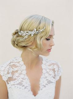 Bridal Hair Comb Swarovski Crystals Floral Hair by VeiledBeauty