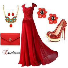 Beautiful dress with accessories--I couldnt do these shoes but I would rock the rest!!!