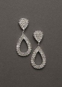Great for making a statement, these earrings are a perfect addition to any jewelry collection.  Bold teardrop crystal earring is glitzy and glamorous. Style ER0333. #davidsbridal #jewelry #weddings #bridalbeauty