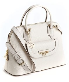 DKNY Handbag  (Ivory White, French Grain Leather Satchel)