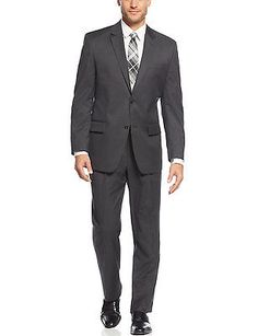 IZOD Regular Fit Charcoal Solid 2-pc Suit 40 Regular 40R Pleated Pants 33W $350