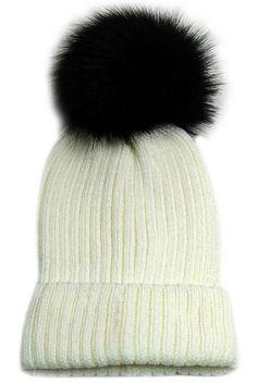e292ef8e753 Large Fur Pom Pom Slouchie Knit Beanie Hat - Cream Black