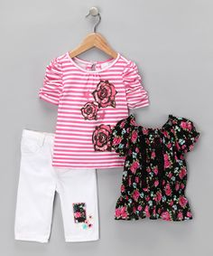Love this White Floral Patch Tee Set - Infant, Toddler & Girls by Nannette on #zulily! #zulilyfinds. $14.99