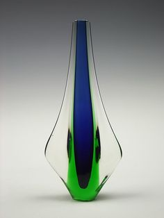 Murano sommerso blue & green teardrop glass vase