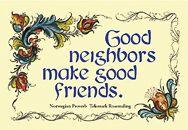 Postcard – Norwegian – Good Neighbors Make Good Friends   Penfield Books