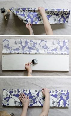 How to decoupage fabric onto shelves. - Mod Podge Rocks #decoupagefurniture