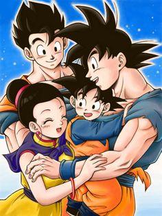 Goku, Gohan, Goten and Chichi